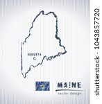maine vector chalk drawing map... | Shutterstock .eps vector #1043857720