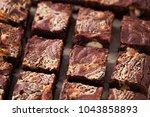 halva brownie with tahini and...   Shutterstock . vector #1043858893