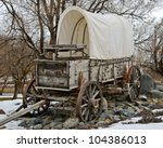 Covered wagon at Farewell bend state Park on the Snake River in Oregon near the Idaho Oregon border