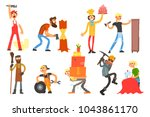 flat vector set with people of... | Shutterstock .eps vector #1043861170