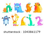 colorful flat vector set of... | Shutterstock .eps vector #1043861179