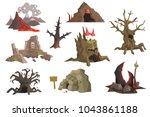 flat vector set of landscape... | Shutterstock .eps vector #1043861188
