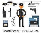 cartoon set of police...   Shutterstock .eps vector #1043861326
