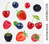set of juicy berries. 3d vector ... | Shutterstock .eps vector #1043861530