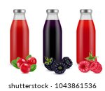 realistic bottles with berry... | Shutterstock .eps vector #1043861536