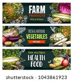 vegetables and fresh organic...   Shutterstock .eps vector #1043861923