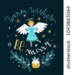 holiday card with cute flying... | Shutterstock .eps vector #1043865064