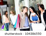 happy girls out shopping at the ... | Shutterstock . vector #104386550