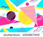 memphis seamless pattern.... | Shutterstock .eps vector #1043867443