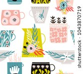 seamless pattern with creative... | Shutterstock .eps vector #1043870719
