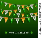 colorful festive bunting with... | Shutterstock .eps vector #1043871010
