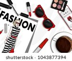 a set of stylish accessories... | Shutterstock .eps vector #1043877394