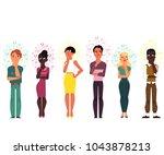 vector cartoon adult african... | Shutterstock .eps vector #1043878213