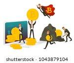 vector flat bitcoin concept.... | Shutterstock .eps vector #1043879104