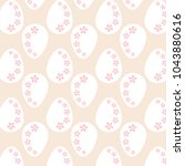 white easter eggs with pink... | Shutterstock .eps vector #1043880616