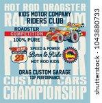 hot rod kids racing team ... | Shutterstock .eps vector #1043880733