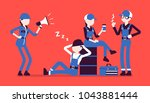 lazy workers resting. group of... | Shutterstock .eps vector #1043881444