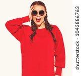 portrait of young happy smiling ... | Shutterstock . vector #1043886763