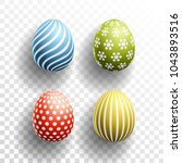 happy easter colored eggs set... | Shutterstock .eps vector #1043893516
