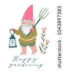 cute garden gnome with a... | Shutterstock .eps vector #1043897383