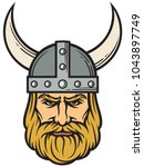 viking head  mascot cartoon... | Shutterstock .eps vector #1043897749