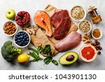 balanced diet organic healthy... | Shutterstock . vector #1043901130