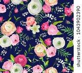 summer floral seamless pattern... | Shutterstock .eps vector #1043902390