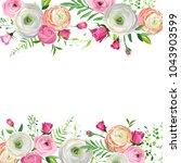 spring and summer floral frame... | Shutterstock .eps vector #1043903599