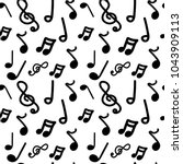 doodle seamless pattern musical ... | Shutterstock .eps vector #1043909113