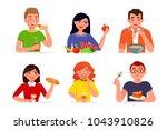 various people eating fast food ... | Shutterstock .eps vector #1043910826