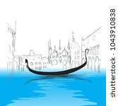 venetian canal  gondola ... | Shutterstock .eps vector #1043910838
