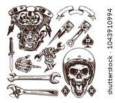 set of vintage motorcycle... | Shutterstock .eps vector #1043910994