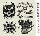 set of vintage motorcycle... | Shutterstock .eps vector #1043915659