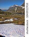 melting snow in the norwegian...   Shutterstock . vector #1043922910