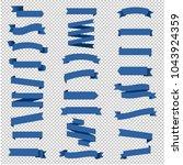 ribbon set in transparent... | Shutterstock .eps vector #1043924359
