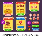 game ui kit. complete menu of... | Shutterstock .eps vector #1043927653