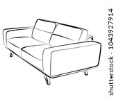 sofa furniture vector isolated... | Shutterstock .eps vector #1043927914