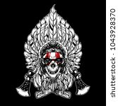 skull indian chief and axe logo ... | Shutterstock .eps vector #1043928370