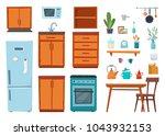 kitchen interior with furniture ... | Shutterstock .eps vector #1043932153