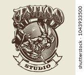 vector tattoo studio logo... | Shutterstock .eps vector #1043933500