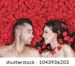 Stock photo beautiful couple lying in rose petals 1043936203