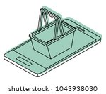 smartphone with shopping basket ... | Shutterstock .eps vector #1043938030