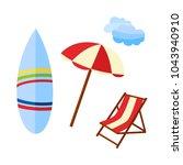 vector flat travelling  beach... | Shutterstock .eps vector #1043940910