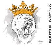 leader of a pack of gorillas.... | Shutterstock .eps vector #1043944930
