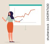 woman pointing at presentation... | Shutterstock .eps vector #1043947630