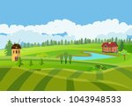 countryside vector illustration ... | Shutterstock .eps vector #1043948533