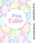 happy easter poster with... | Shutterstock .eps vector #1043951974