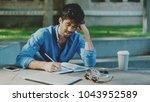 professional journalist taking...   Shutterstock . vector #1043952589