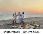 group of men and women having... | Shutterstock . vector #1043955838