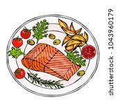 salmon filet on a plate with... | Shutterstock .eps vector #1043960179